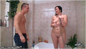 chubby milf shower