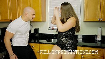 Mom and son fuck in kitchen